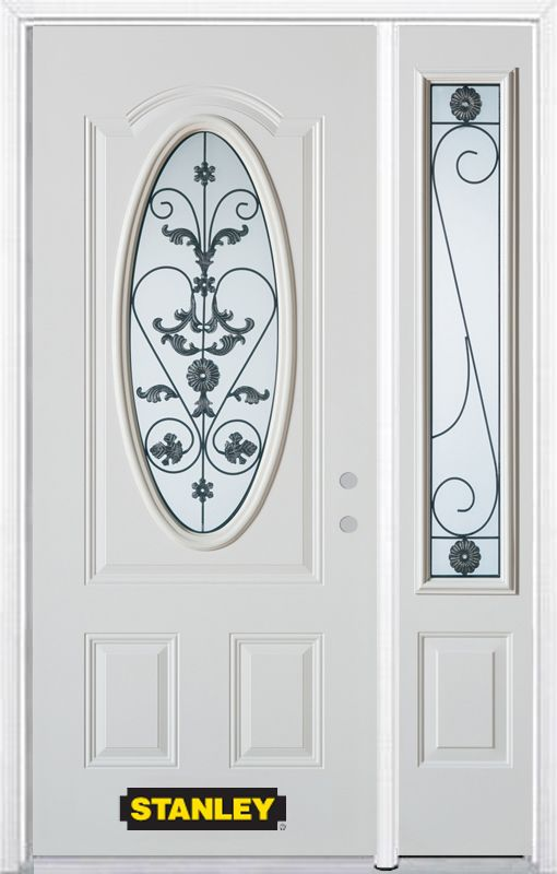 50-inch x 82-inch Blacksmith Oval 3/4-Lite White Steel Entry Door with Sidelite and Brickmould