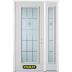 Stanley Doors 52.75 inch x 82.375 inch Beaujolais Full Lite Prefinished White Left-Hand Inswing Steel Prehung Front Door with Sidelite and Brickmould