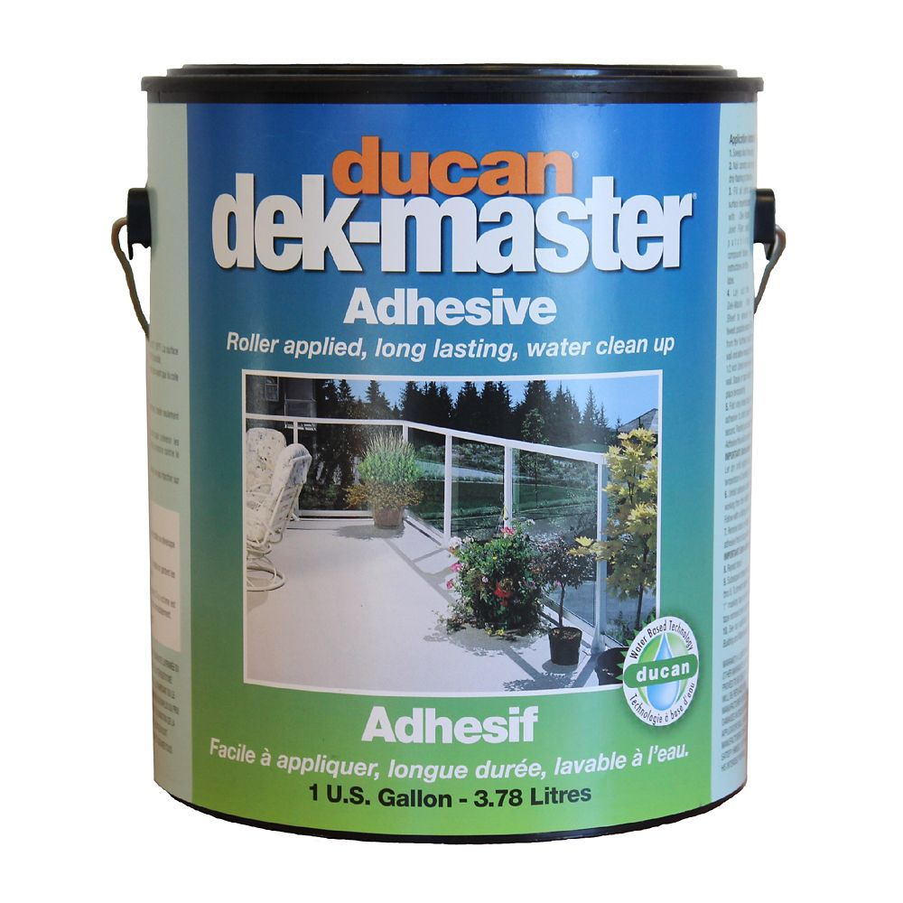 Ducan Dek-Master dek-master Regular Adhesive is a waterbased slow drying adhesive used for 45 mil grade vinyl or lower. Allows for one hour of working time.