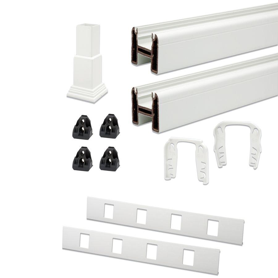 Uni. Top/bottom stair rail kit-91.5 in white