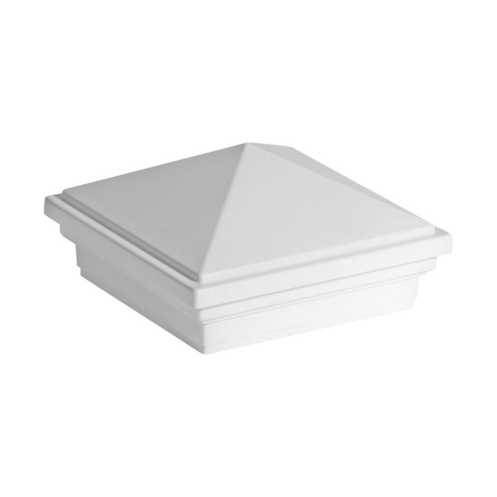 4x4 Post Sleeve Cap - Pyramid - White