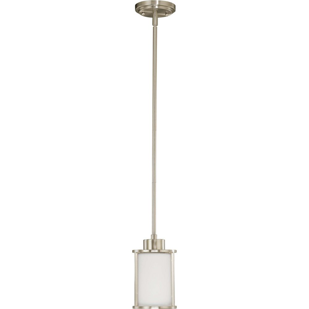 Glomar Odeon 1-Light Mini Pendant with Satin White Glass Finished in Brushed Nickel