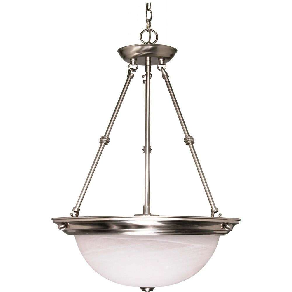Lustre Glomar à trois ampoules avec abat-jour de spécialité, finition de spécialité