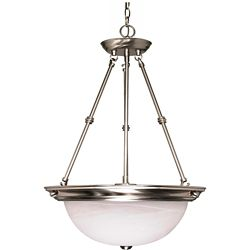 Glomar 3-Light Brushed Nickel Fluorescent 20 Inch Pendant with Alabaster Glass (3) 13 watt CFL Bulbs Included