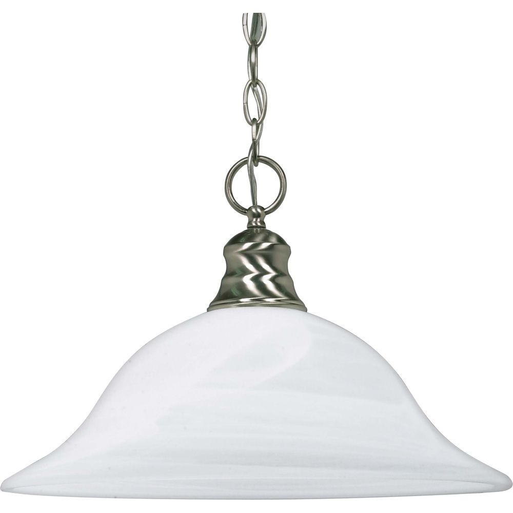 1-Light Brushed Nickel Fluorescent 16 Inch Pendant with Alabaster Glass (1) 18 watt CFL Bulb Incl...