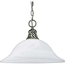 Glomar 1-Light Brushed Nickel Fluorescent 16 Inch Pendant with Alabaster Glass (1) 18 watt CFL Bulb Included