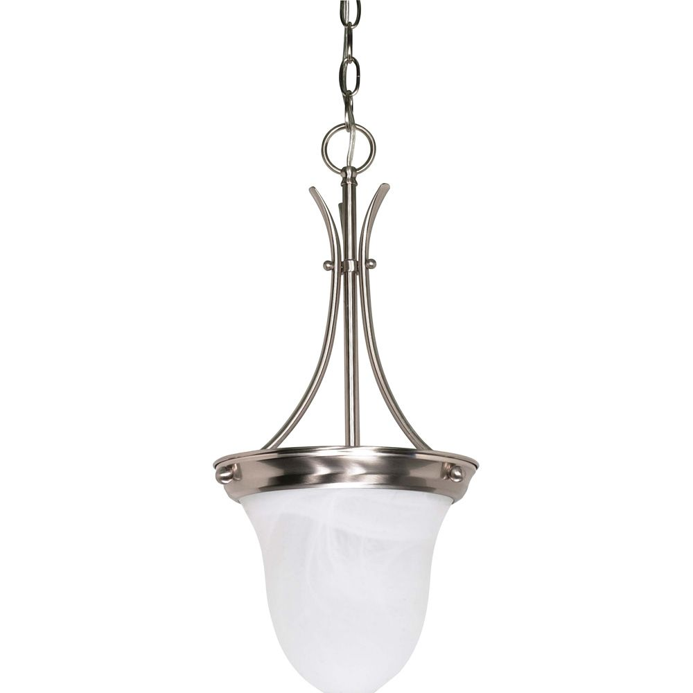 1 Light Brushed Nickel Fluorescent 10 Inch  Pendant with Alabaster Glass  (1) 13W CFL Bulb Includ...