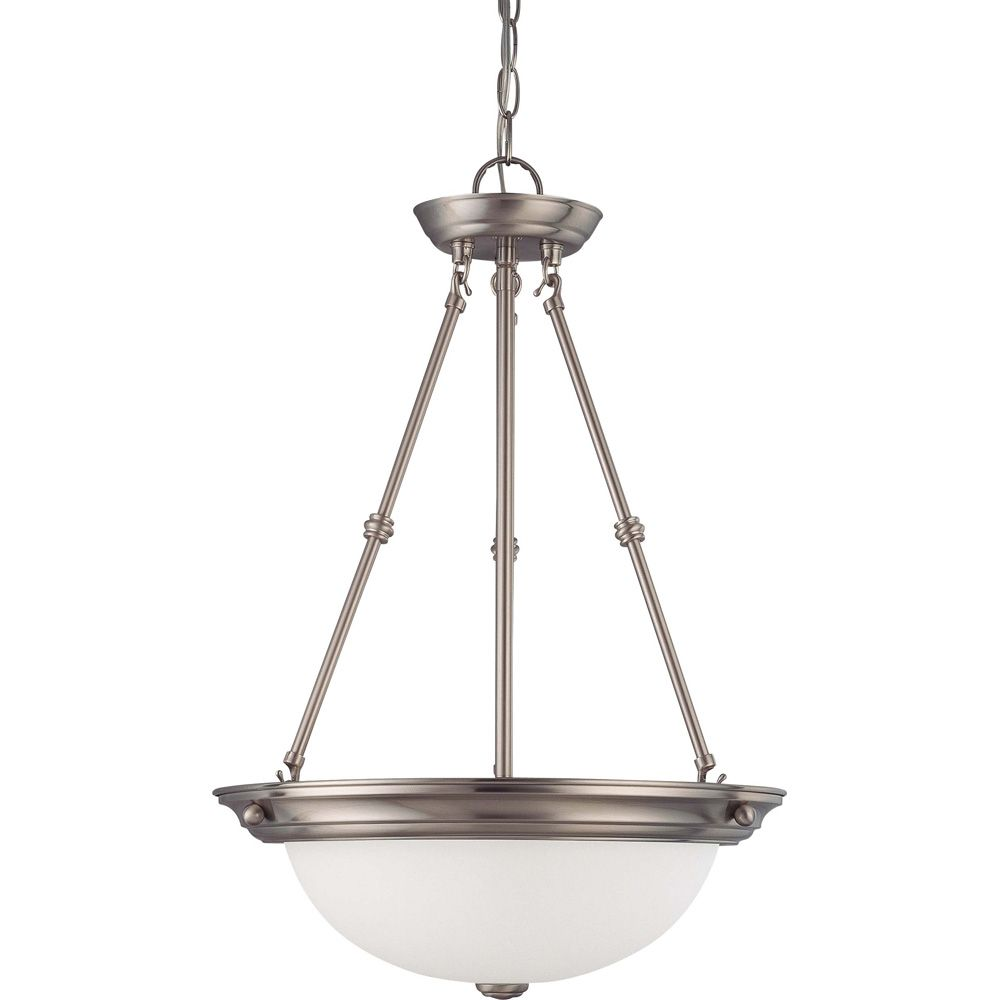 3-Light Brushed Nickel Fluorescent 15 Inch Pendant with Frosted White Glass (3) 13 watt CFL Bulbs...