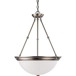 Glomar Lustre Glomar à trois ampoules avec abat-jour givré, finition de spécialité