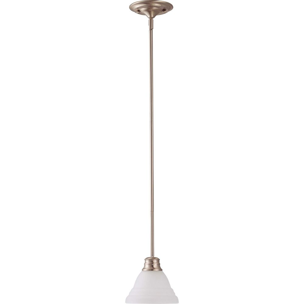 Glomar Empire Brushed Nickel 1 Light 7 Inch Mini Pendant with Frosted White Glass (1) 13W Bulbs Included