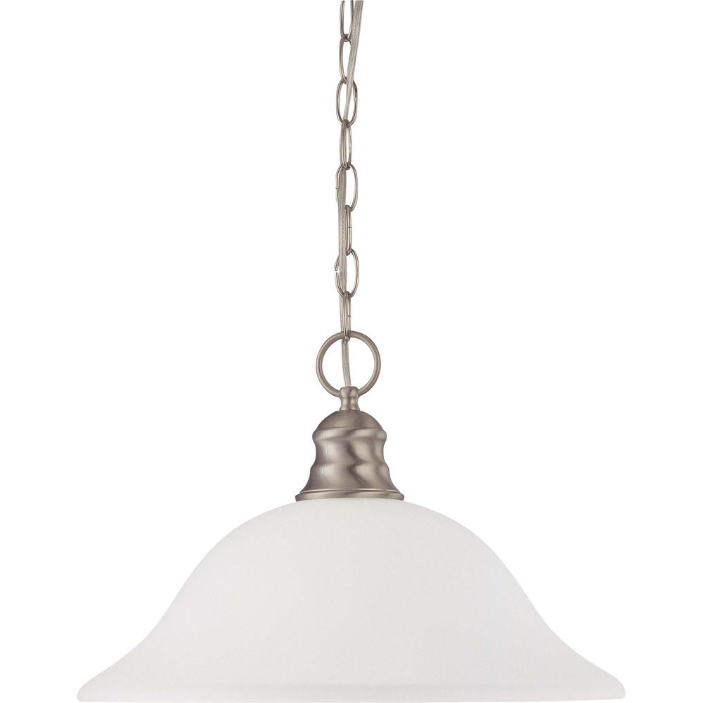 1-Light Brushed Nickel Fluorescent 16 Inch Pendant with Frosted White Glass (1) 18 watt CFL Bulb ...