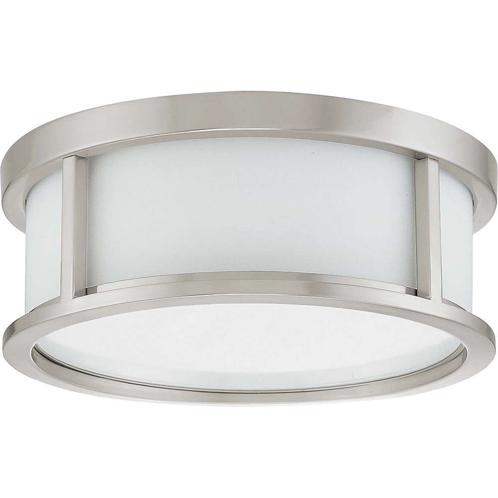 Odeon  2 Light 13 Inch Flush Dome with Satin White Glass Finished in Brushed Nickel