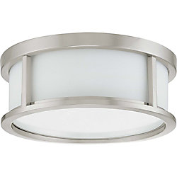 Glomar Odeon  2 Light 13 Inch Flush Dome with Satin White Glass Finished in Brushed Nickel