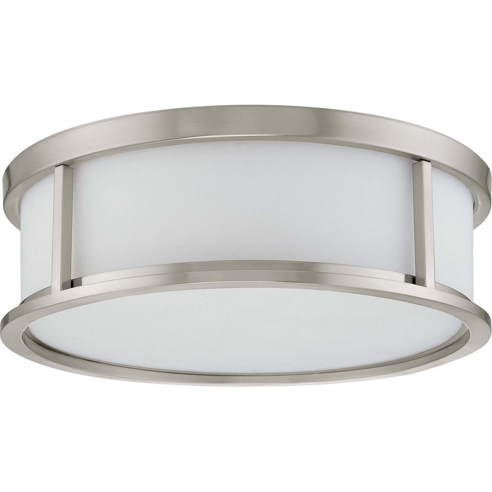 Odeon  3 Light 15 Inch Flush Dome with Satin White Glass Finished in Brushed Nickel