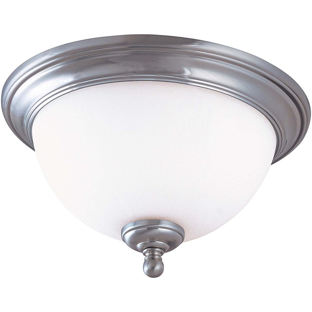 Glenwood Brushed Nickel 2 Light 13 Inch Flush Domewith Satin White Glass  (Bulbs Included)