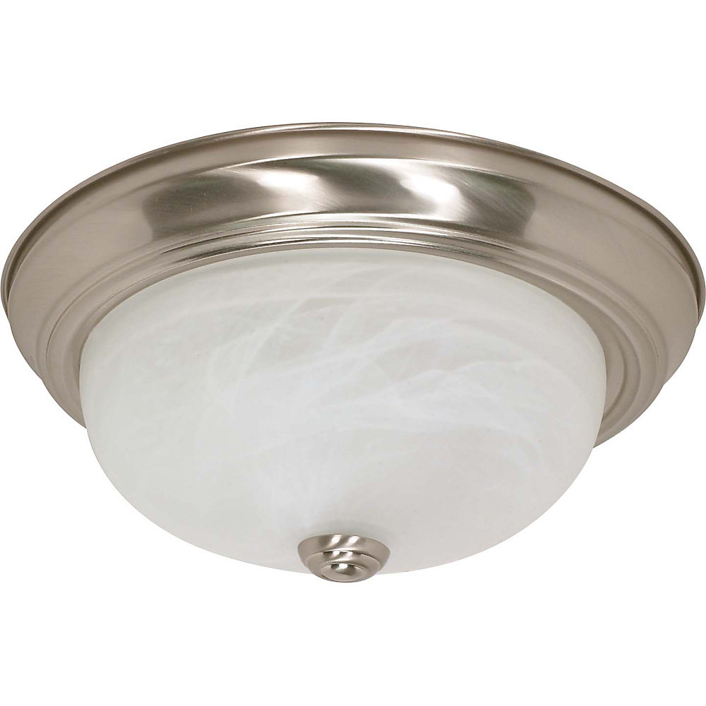 2-Light Brushed Nickel Fluorescent 13 Inch Flush Fixture with Alabaster Glass (2) 13 watt CFL Bulbs Included