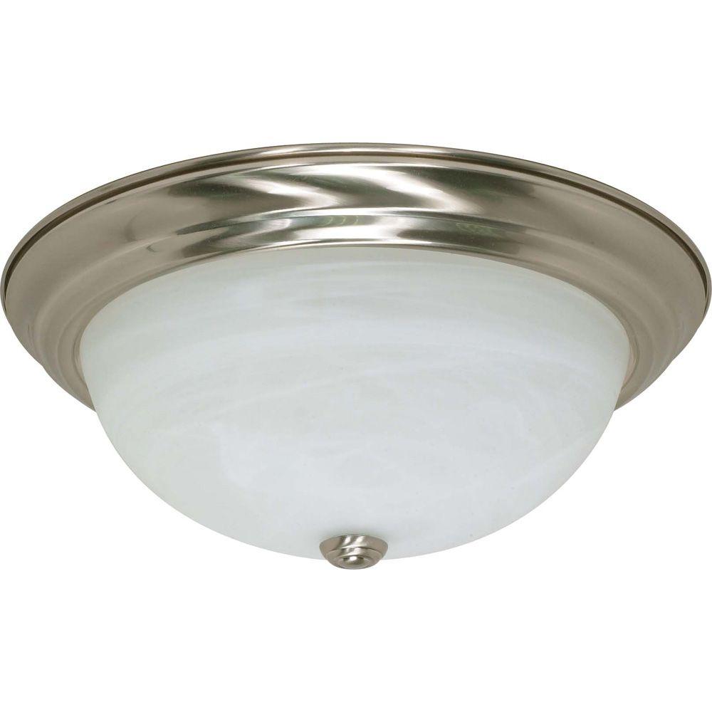 3-Light Brushed Nickel Fluorescent 15 Inch Flush Fixture with Alabaster Glass (3) 13 watt CFL Bul...