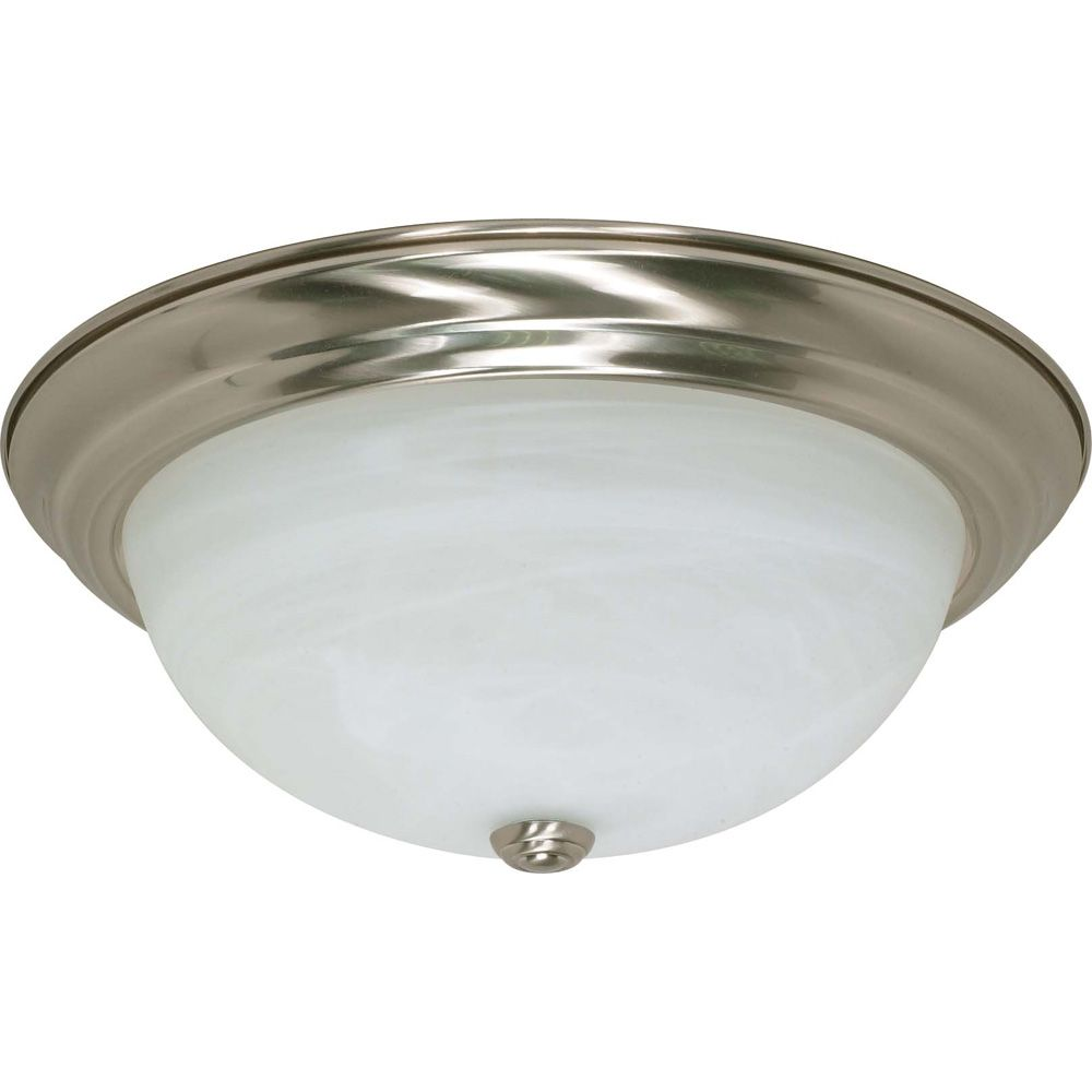 Glomar 3-Light Brushed Nickel Fluorescent 15 Inch Flush Fixture with Alabaster Glass (3) 13 watt CFL Bulbs Included