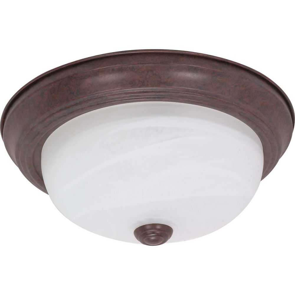 2-Light Old Bronze Fluorescent 11 Inch Flush Fixture with Alabaster Glass (2) 13 watt CFL Bulbs I...