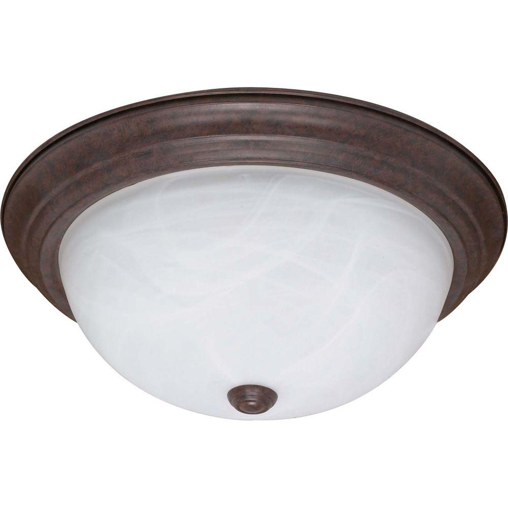 2-Light Old Bronze Fluorescent 11 Inch Flush Fixture with Alabaster Glass (2) 13 watt CFL Bulbs I...