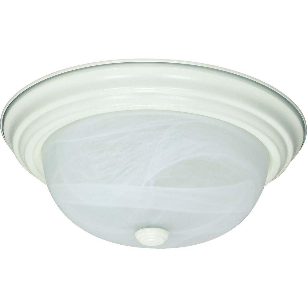 Plafonnier Glomar à deux ampoules avec abat-jour de spécialité, Fini blanc