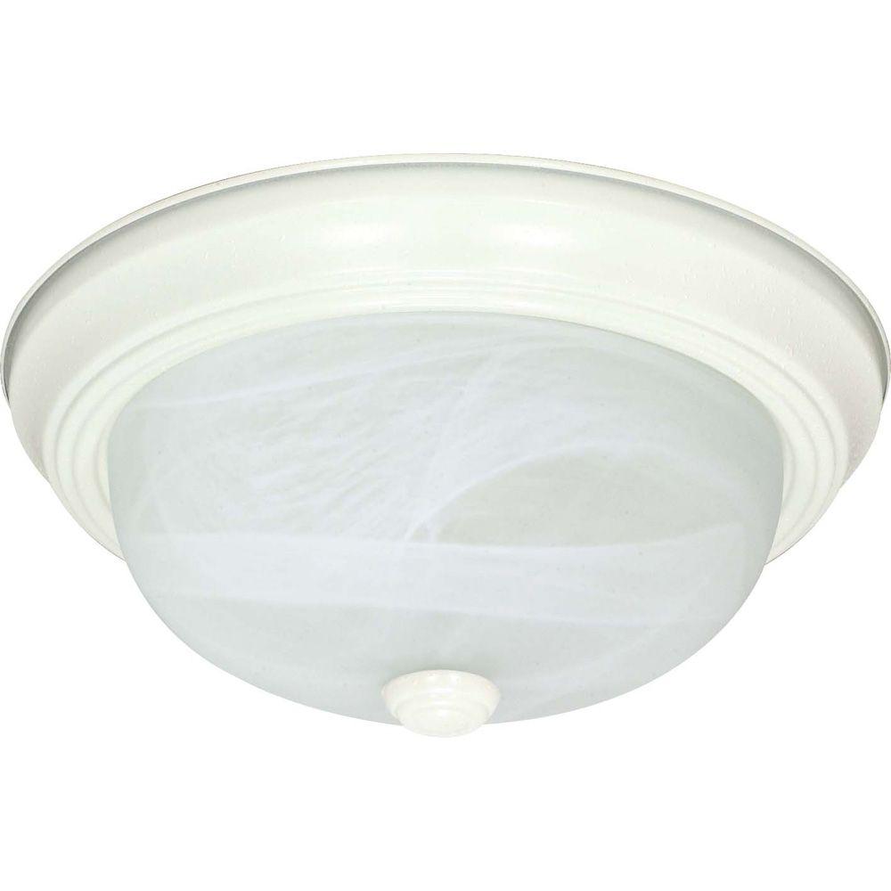2-Light Textured White Fluorescent 11 Inch Flush Fixture with Alabaster Glass (2) 13 watt CFL Bul...