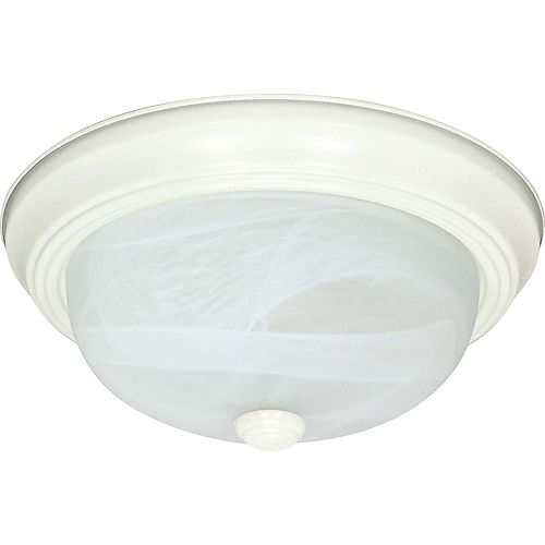 Glomar 2-Light Textured White Fluorescent 11 Inch Flush Fixture with Alabaster Glass (2) 13 watt CFL Bulbs Included