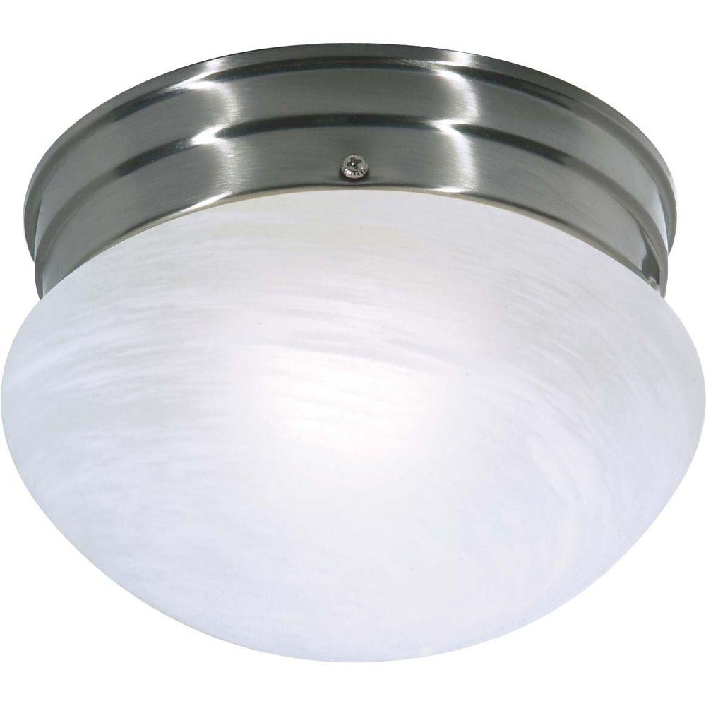 Glomar 1-Light Brushed Nickel Fluorescent Small Mushroom with Alabaster Glass (1) 13 watt CFL Bulb Included