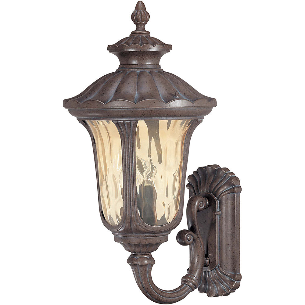 Beaumont 3-Light Large Wall Lantern- Arm Up with Amber Water Glass finished in Fruitwood