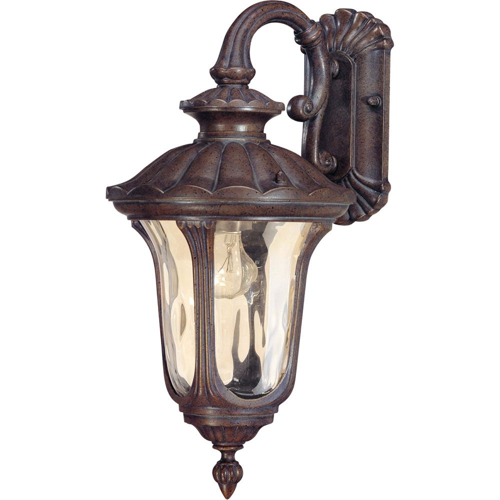 Glomar Beaumont - 1-Light Small Wall Lantern- Arm Down with Amber Water Glass finished in Fruitwood