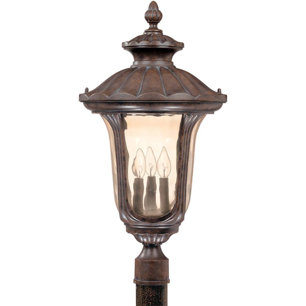 Beaumont 3-Light Large Post Lantern- with Amber Water Glass finished in Fruitwood