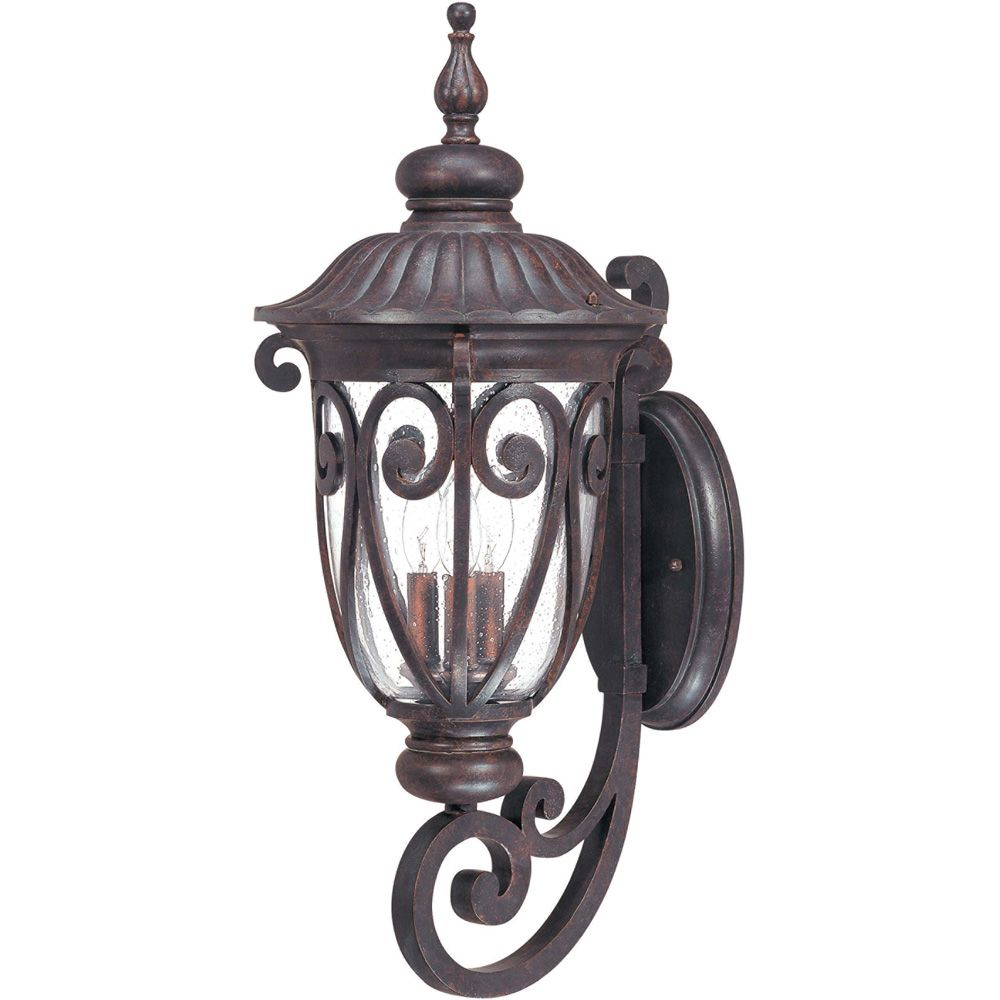 Corniche 3-Light Large Wall Lantern Arm Up with Seeded Glass finished in Burlwood