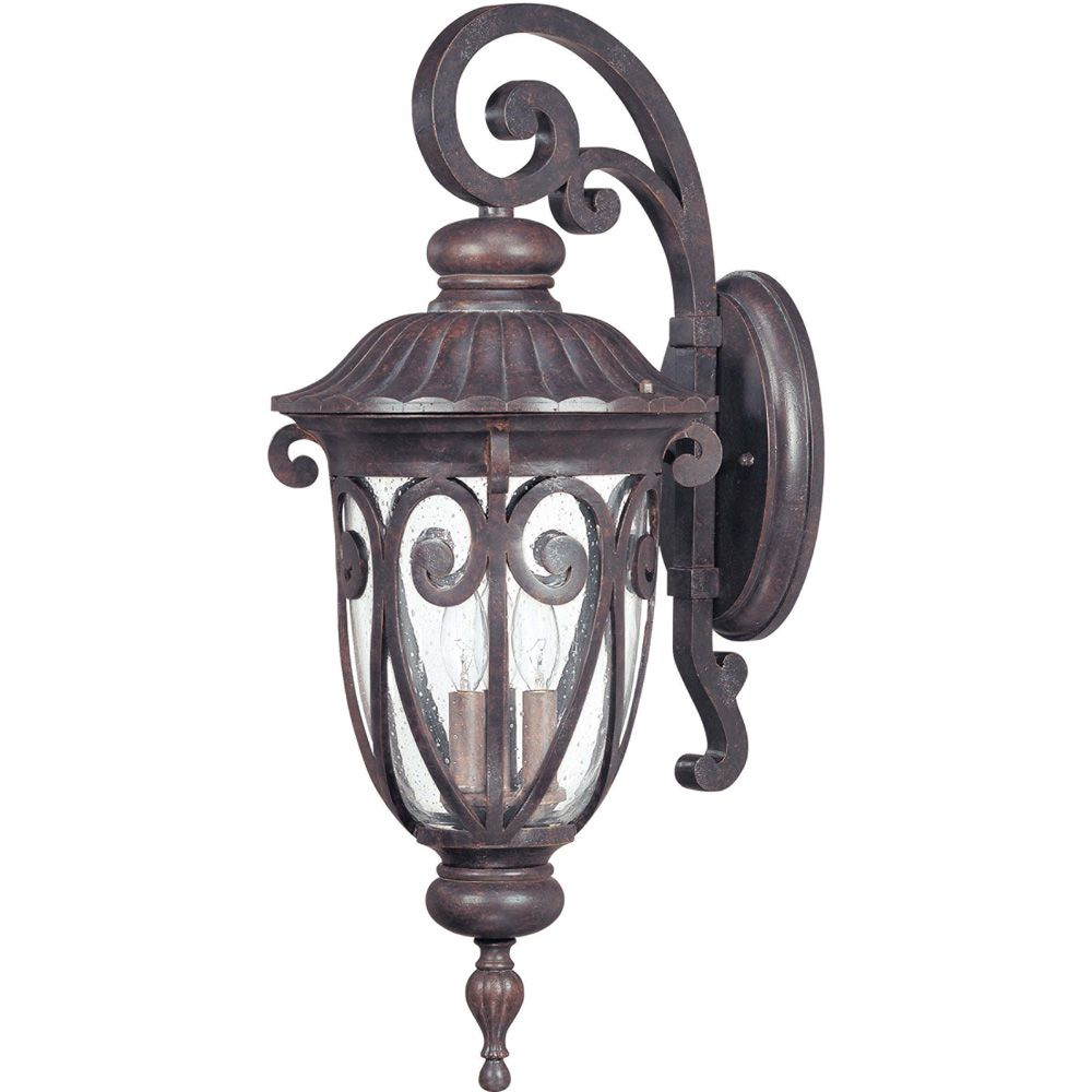 Corniche 3-Light Large Wall Lantern Arm Down with Seeded Glass finished in Burlwood