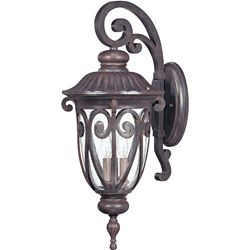 Glomar Corniche 3-Light Large Wall Lantern Arm Down with Seeded Glass finished in Burlwood