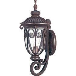 Glomar Corniche 1-Light Mid-Size Wall Lantern Arm Up with Seeded Glass finished in Burlwood
