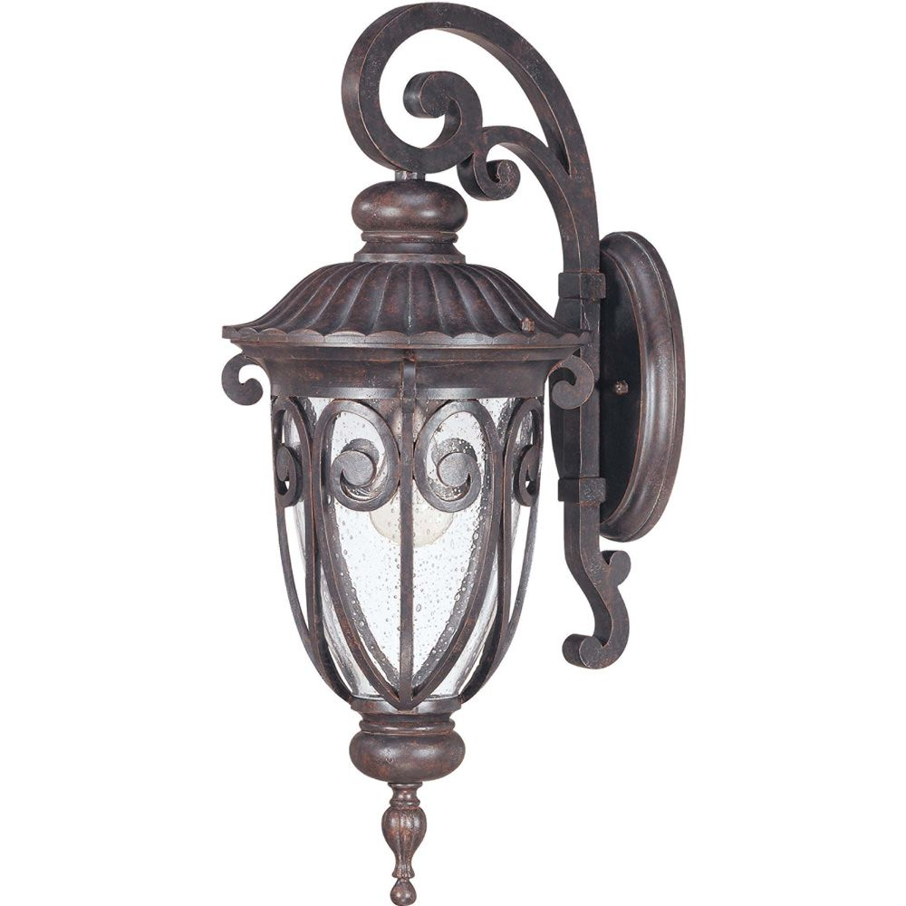 Glomar One-Light Mid-Size Wall Lantern with Seeded Glass in Burlwood