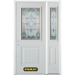 Stanley Doors 48.25 inch x 82.375 inch Aristocrat Brass 1/2 Lite 1-Panel Prefinished White Right-Hand Inswing Steel Prehung Front Door with Sidelite and Brickmould