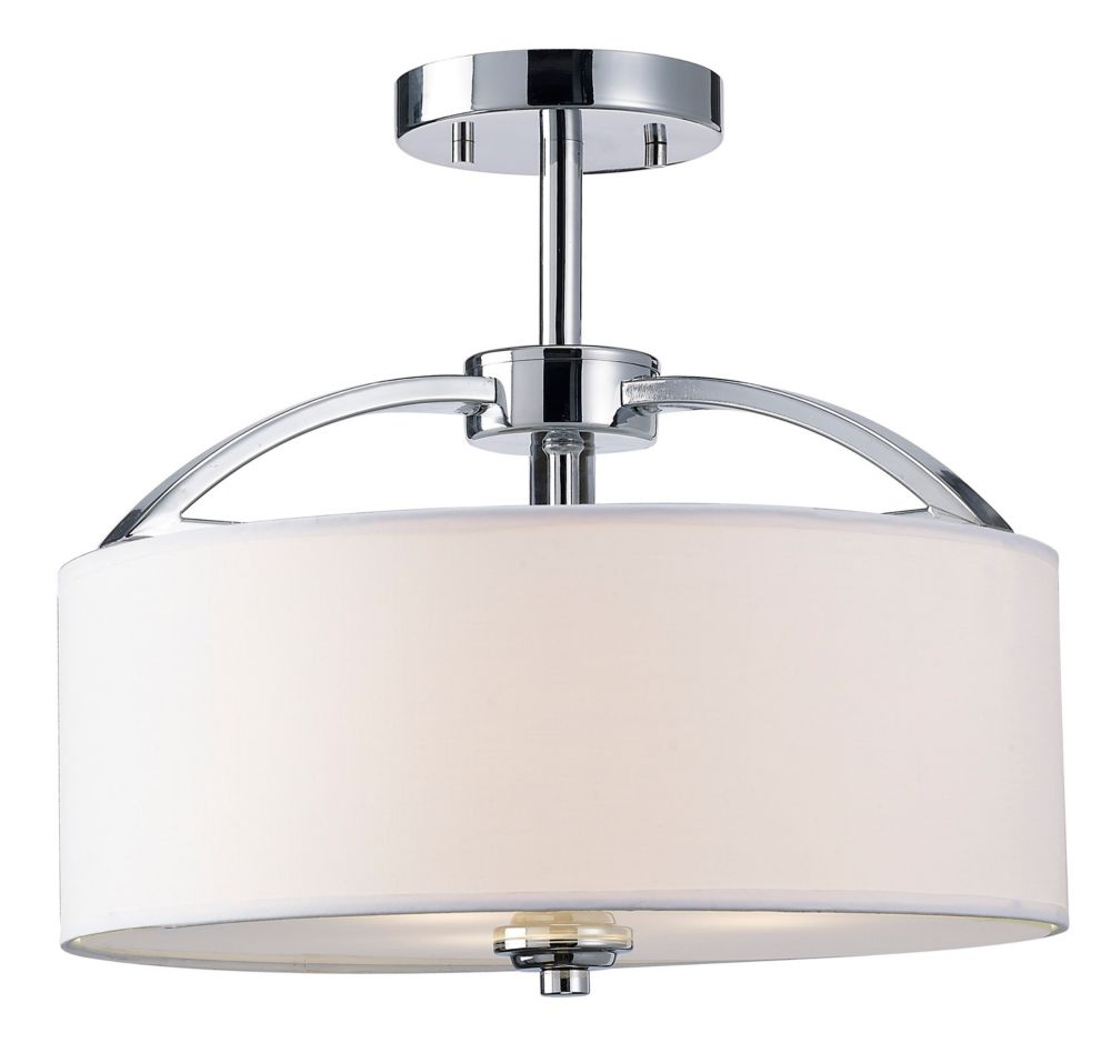 MILANO 3 Light Chrome Semi-Flush Mount, White Fabric Shade With Frosted Glass