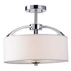 Milano 3-Light Semi-Flushmount Fixture with White Fabric Shade and Frosted Glass in Chrome