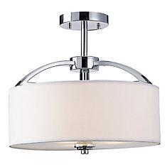 MILANO 3 lumière plafonnier en chrome, blanc tissu ombre en verre dépoli