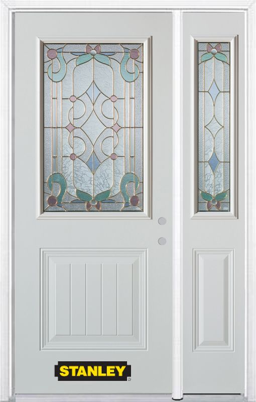 50-inch x 82-inch Aristocrat 1/2-Lite 1-Panel White Steel Entry Door with Sidelite and Brickmould