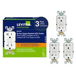 Decora 20 Amp Tamper-Resistant Slim GFCI Receptacle/ (3-Pack)