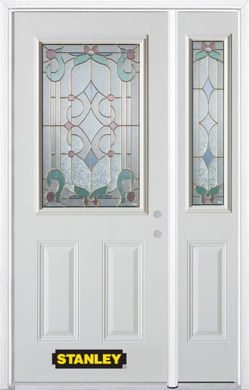 48-inch x 82-inch Aristocrat 1/2-Lite 2-Panel White Steel Entry Door with Sidelite and Brickmould