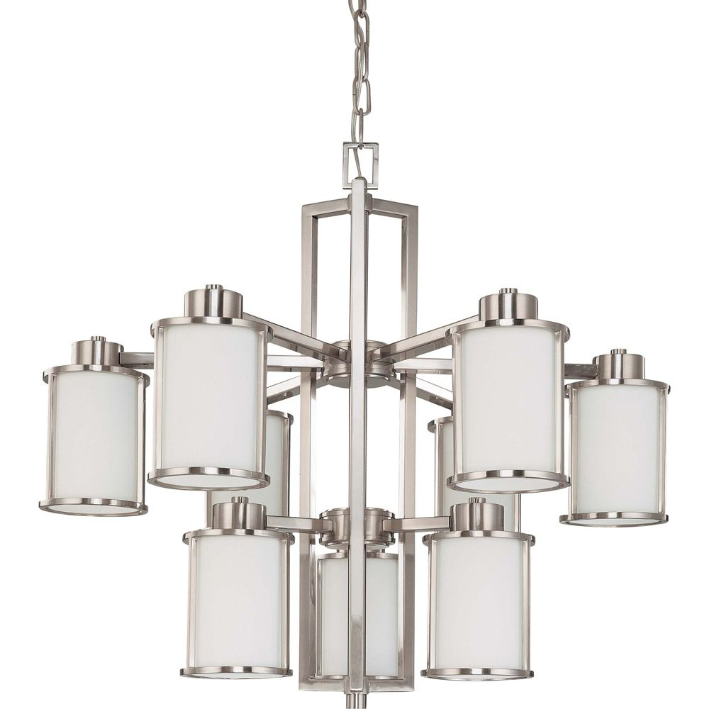 Odeon  6 + 3-Light Chandelierwith Satin White Glass Finished in Brushed Nickel