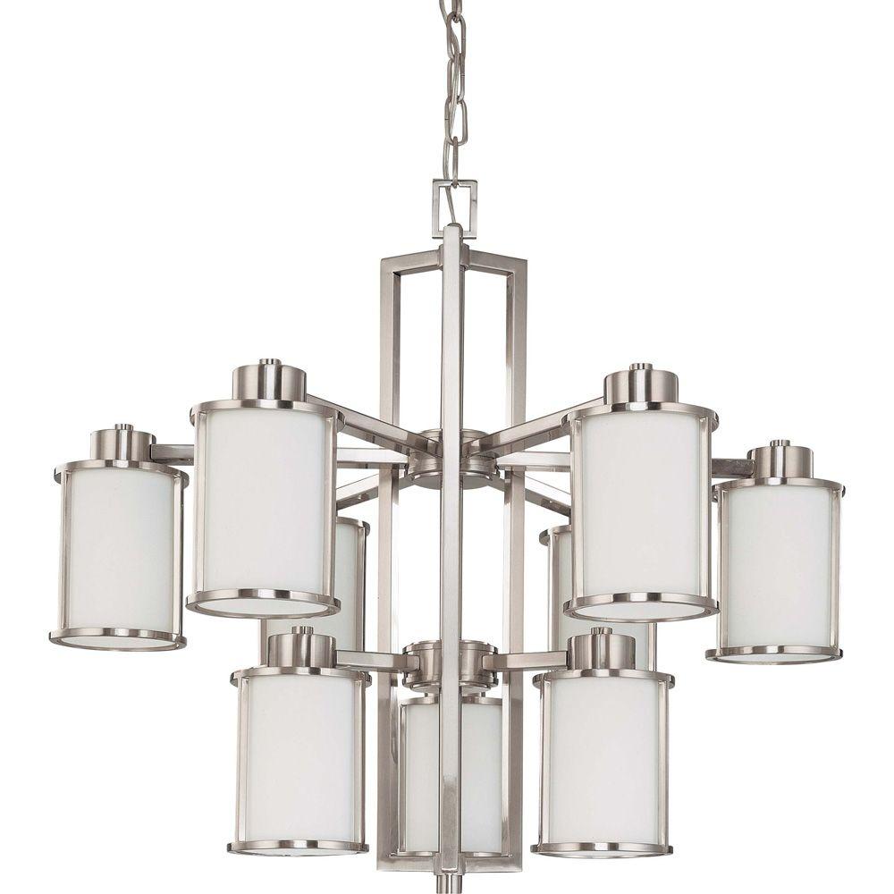 Lustre Glomar à neuf ampoules avec abat-jour blanc, finition de spécialité