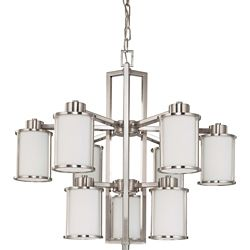 Glomar Odeon 6 + 3-Light Chandelierwith Satin White Glass Finished in Brushed Nickel