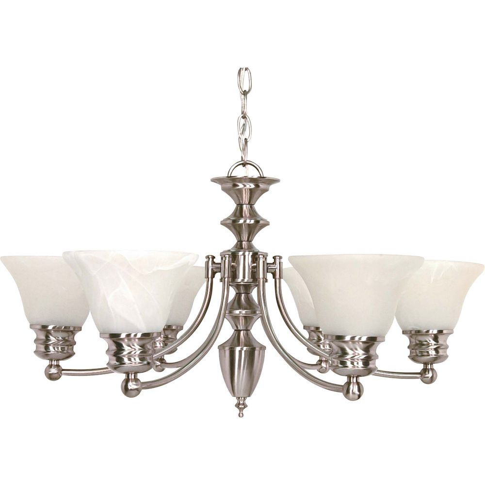 Empire Brushed Nickel 6-Light 26 Inch Chandelier with Alabaster Glass (6) 13 watt Bulbs Included
