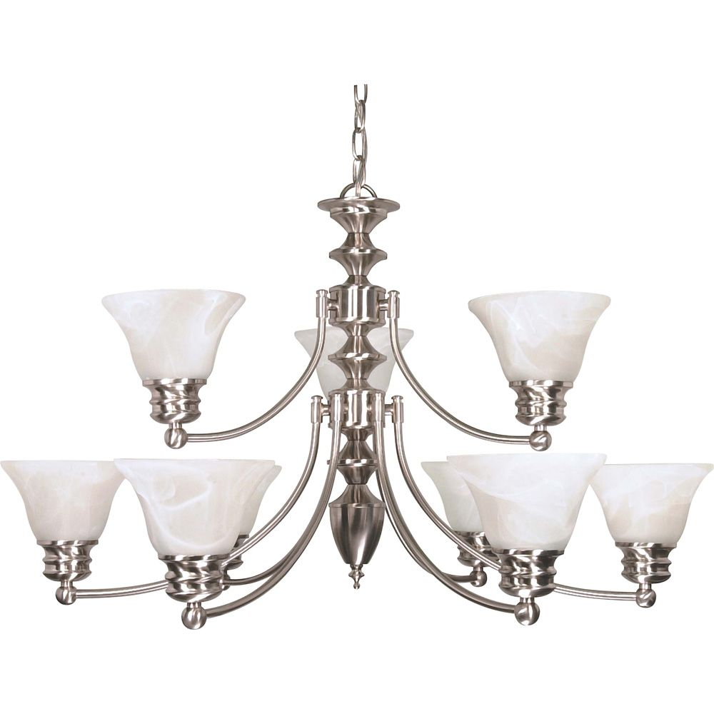 Empire Brushed Nickel 9 Light 32 Inch  Chandelier with Alabaster Glass  (9) 13W  Bulbs Included