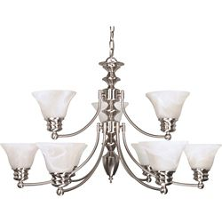 Glomar Empire Brushed Nickel 9 Light 32 Inch Chandelier with Alabaster Glass (9) 13W Bulbs Included