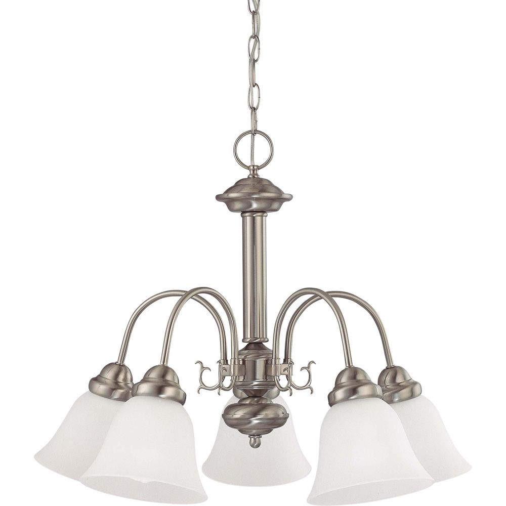 Ballerina Brushed Nickel 5 Light  24 Inch Chandelierwith Frosted White Glass  13W  Bulbs Included